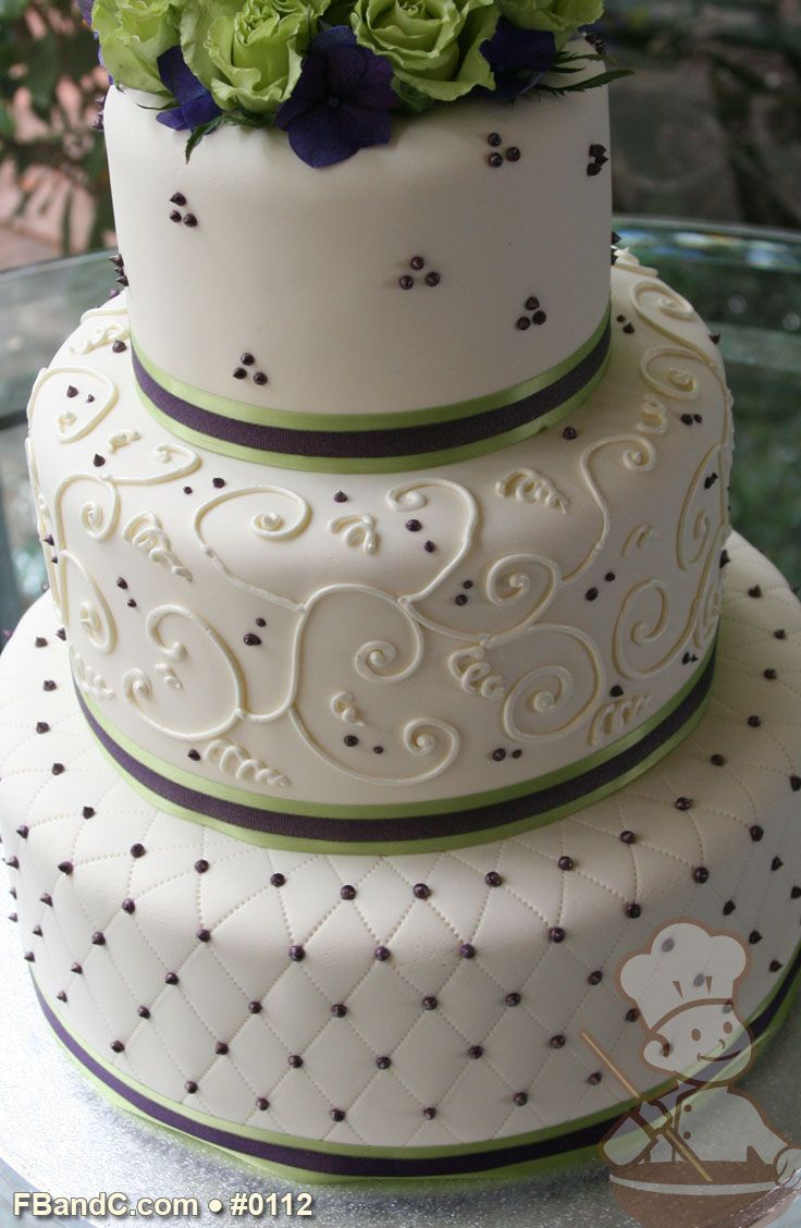 Design W 0112 Fondant Wedding Cake 12 9 6 Serves 100 2