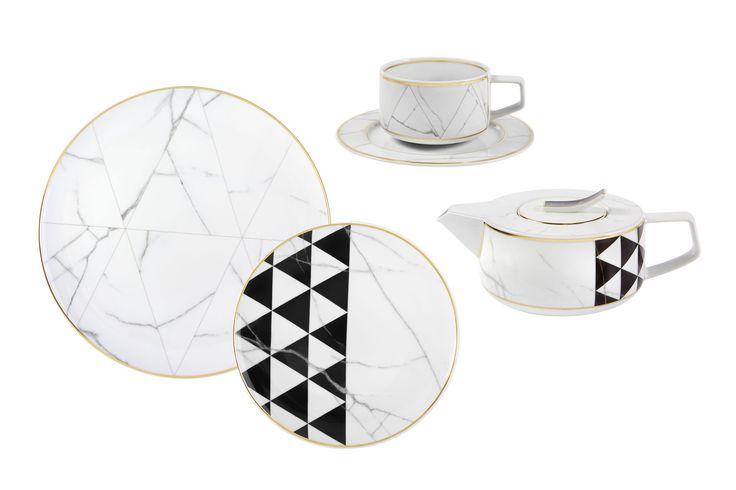 Vista Alegre Carrara porcelain; $25–$145 per piece. vistaalegre.com