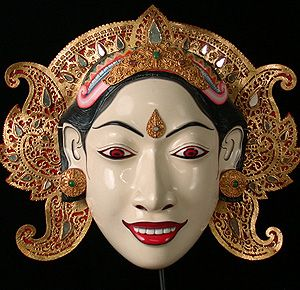 Sita mask  Wayang Wong dance drama, Bali, Indonesia - 11 inches wide, painted wood, gilded and mirrored leather, jewelry