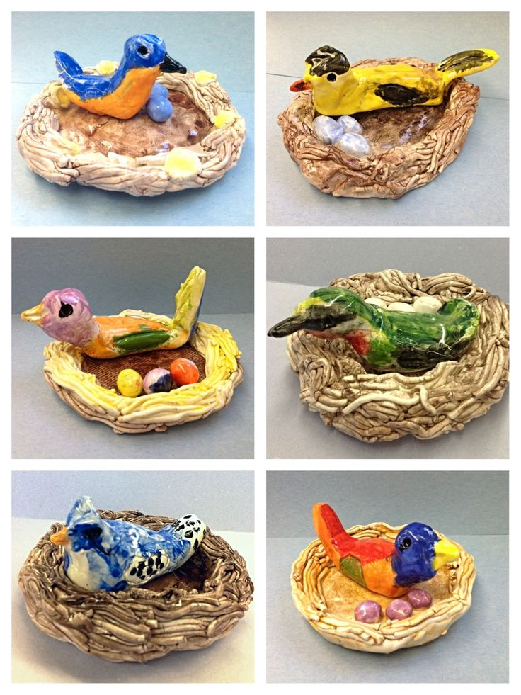 Clay birds in a nest. Second grade art project.