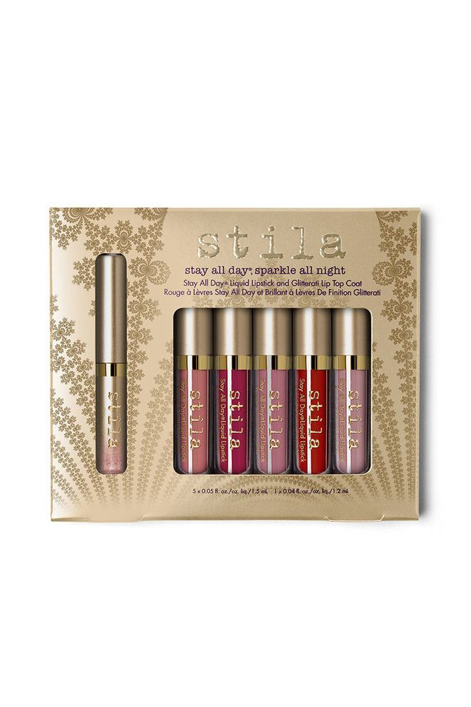 'Tis the season to sparkle! Create your perfect pout with one of Stila's deluxe Stay All Day® Liquid Lipsticks. Wear any shade as is or add light and sparkle with our new Glitterati Lip Top Coat. Lips will hold a matte finish, but glow with ethereal elegance: endless options in one complete collection! Set includes a mix of iconic and limited edition shades.