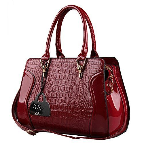 f666c89a7f38 Hynes Eagle Patent Leather Crocodile Pattern Tote Bags Top Handle Handbags,  http