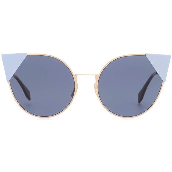 Fendi Cat-Eye Sunglasses ($435) ❤ liked on Polyvore featuring accessories, eyewear, sunglasses, blue, cateye sunglasses, fendi glasses, blue cat eye sunglasses, blue glasses and cat eye sunnies