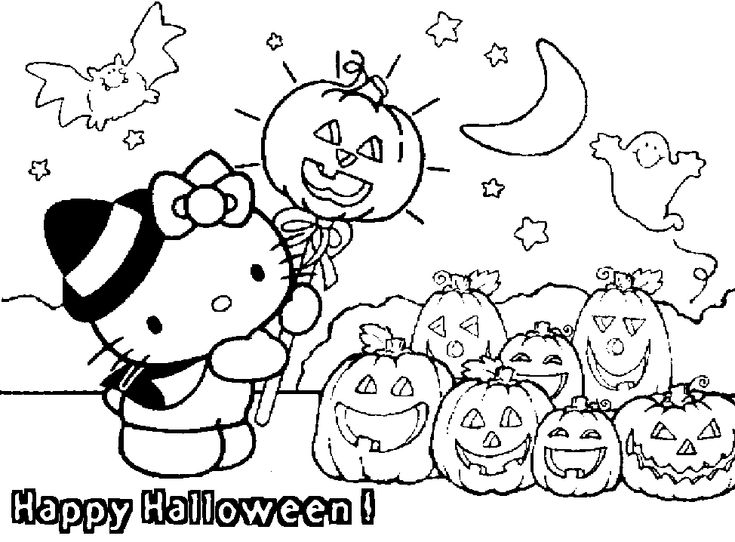 Hello Kitty Happy Halloween Coloring Pages | Free Internet Pictures