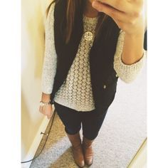 white knit sweater, dark jeans, brown/tan boots , black vest. I have this . need a necklace that goes with this sort of outfits
