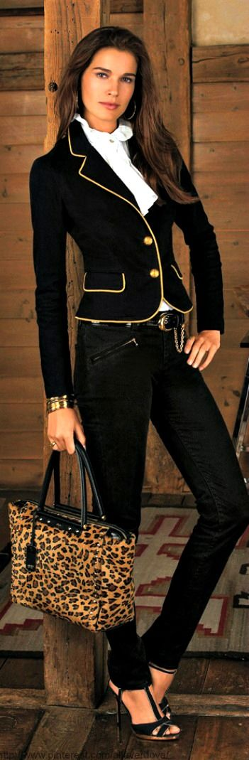 Making outfits for work that say sophisticated: use only black gold and starchy white. Maybe add a little leopard but keep it classy and you make a power statement Ralph Lauren