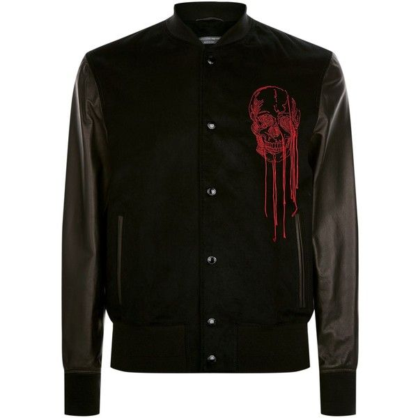 Alexander McQueen Leather Panel Skull Embroidered Bomber Jacket ($3,475) ❤ liked on Polyvore featuring men's fashion, men's clothing, men's outerwear, men's jackets, mens leather flight jacket, men's embroidered bomber jacket, mens leather bomber jacket, mens leather jackets and mens gothic jacket