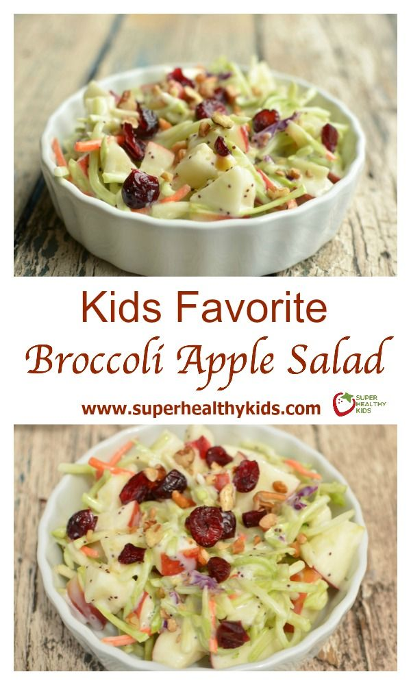 Kids Favorite Broccoli Apple Salad Recipe. I always bring this salad to a potluck! www.superhealthykids.com/favorite-salad