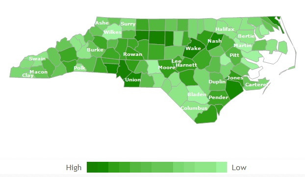 The darker the green, the higher the concentration of foreclosed homes in NC / Is this the time to take advantage of low rates and low home prices in Raleigh?  Yep!