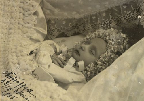 "Post mortem image of Princess Natalia Konstantinovna of Russia. ""Princess Natalia was born on March 10/23, 1905, at Pavlovsk. Christened exactly one month later, she was destined to live only two months. On May 10/13, 1905, she died in her mother's..."