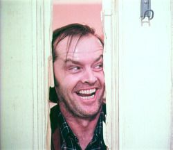 "Frame from an unused take from The Shining. This alternate take of Jack Nicholson's iconic ""Here's Johnny!"" moment was used in an American television commercial for The Shining upon its initial..."