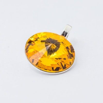 Silver plated Swarovski Rivoli Pendant 12mm Sunflower  Dimensions: length: 1,7cm stone size: 12mm Weight ~ 1,40g ( 1 piece ) Metal : silver plated brass Stones: Swarovski Elements 1122 12mm Colour: Sunflower 1 package = 1 piece Price 9.40 PLN(about 2.5 EUR)
