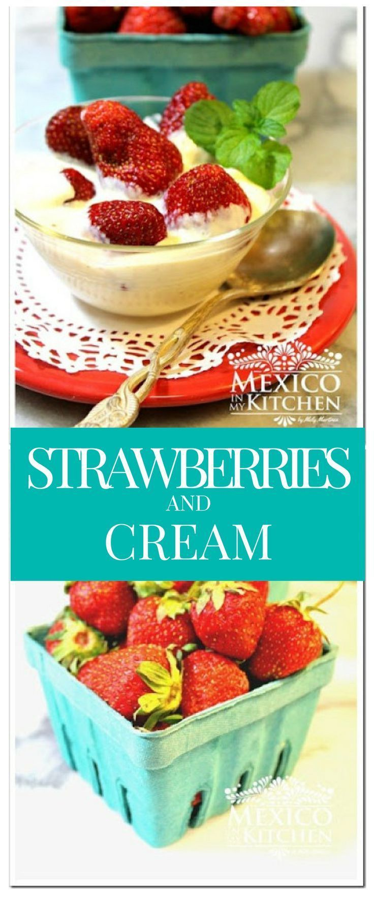 Fresas con Crema are one of the most traditional desserts in Mexico. They are a very popular snack and are super quick and easy to make. #recipe #mexican #food #postres