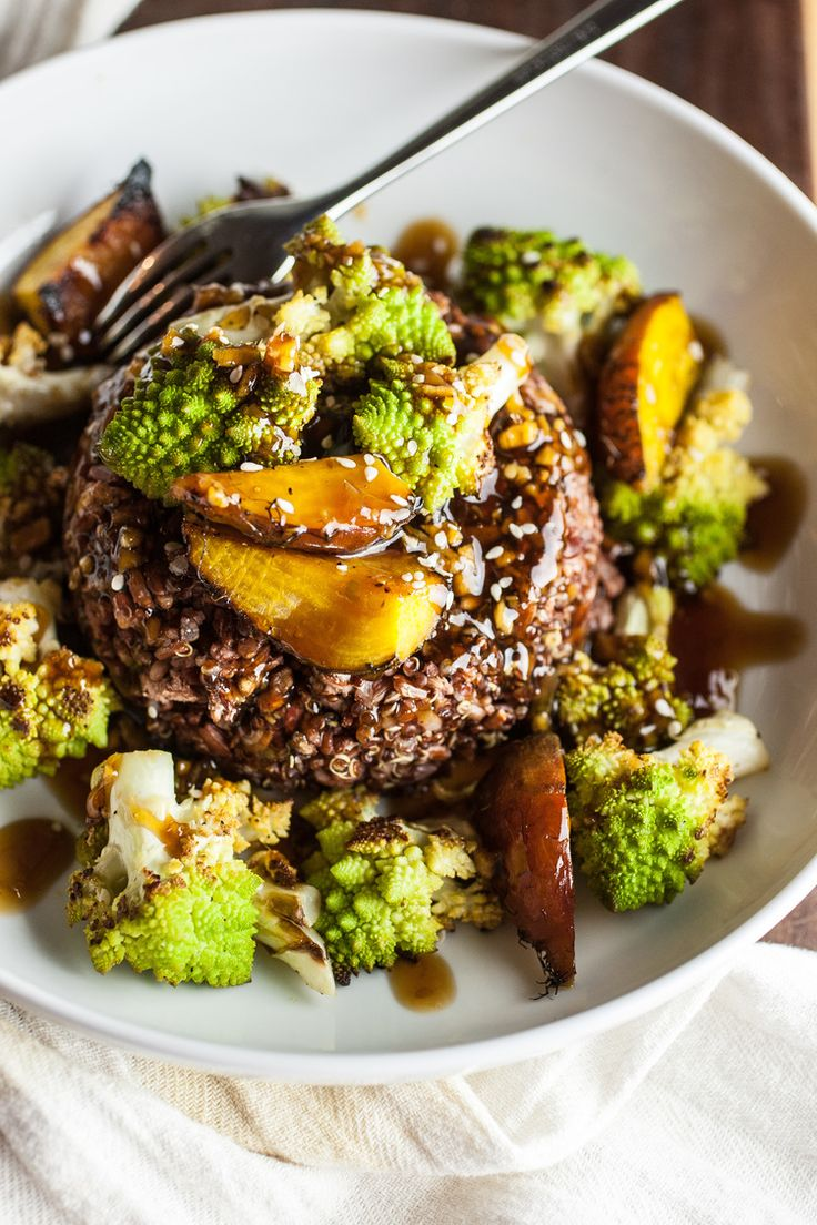 Produce On Parade - Teriyaki Romanesco & Beet Bowl - Roasted romanesco and sweet beets perch atop a bed of rice, drizzled with a delicious teriyaki glaze. It's sweet and salty, and done in a pinch.