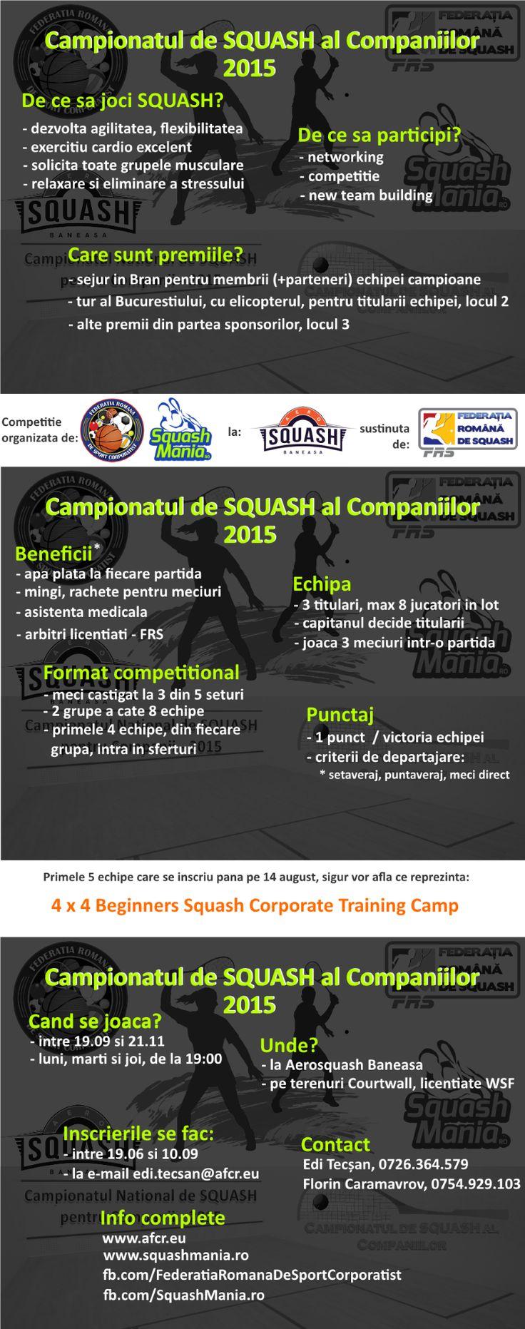 De ce sa intram in competitia companiilor?  Delatii Campionat (SquashMania): http://goo.gl/gsbdTD Detalii campionat (AFCR.eu): http://goo.gl/iHEI8r 4x4... http://goo.gl/hNp1F2