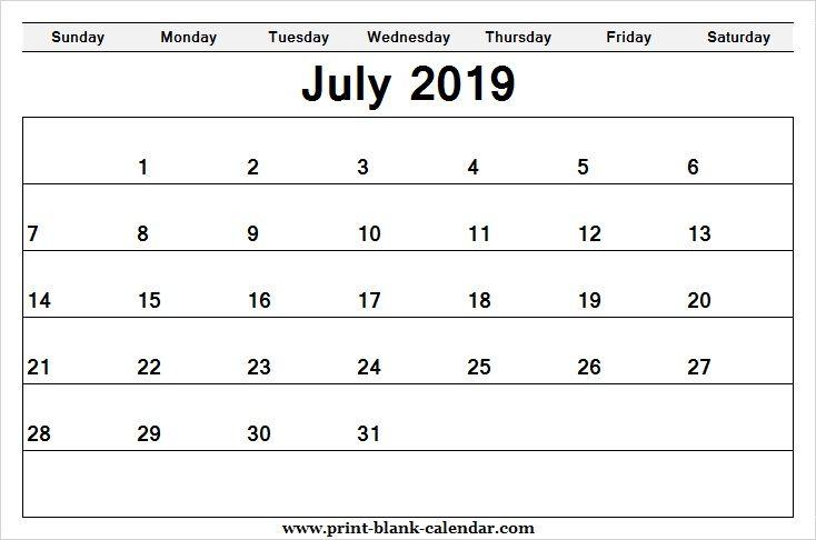 Editable Printable 2019 July Calendar Pretty Printblank Calendar