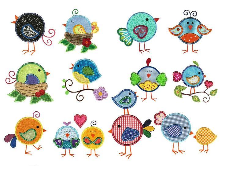 Lovebirds Birds Applique Machine Embroidery Designs | Designs by JuJu