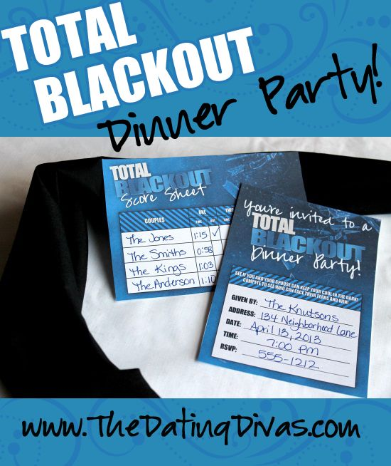 Marvelous Ideas For Dinner Party Games Part - 10: Total Blackout Dinner Party