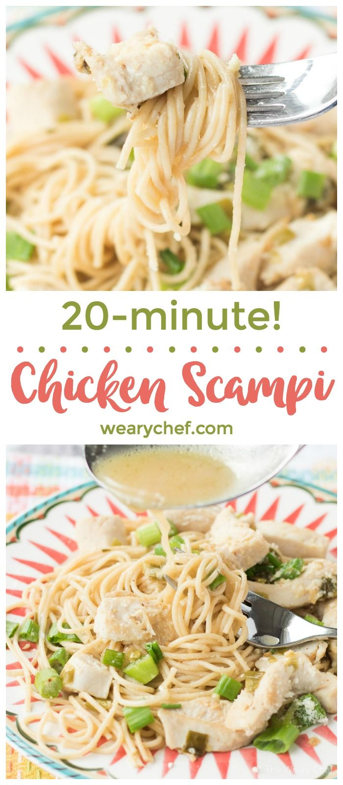 This flavorful quick chicken scampi recipe is ready only about 20 minutes! It's a perfect weeknight family meal or just right for guests!