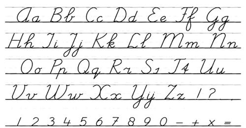 Voorbeeld schrijfletters hoofd en klein,  afdrukken en op tafel plakken