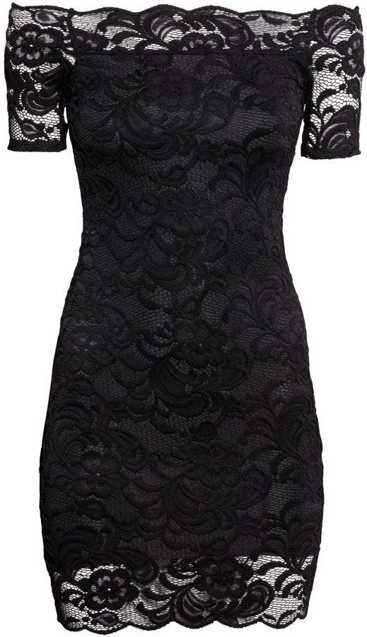 Fab Find!! H&M - Off-the-shoulder Lace Dress - Black - Ladies http://www.frugalflirtynfab.com