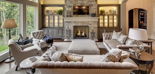 Elegant Great Room on a Budget - Tufted Sofas & Greige Furniture | Money Saving Sisters