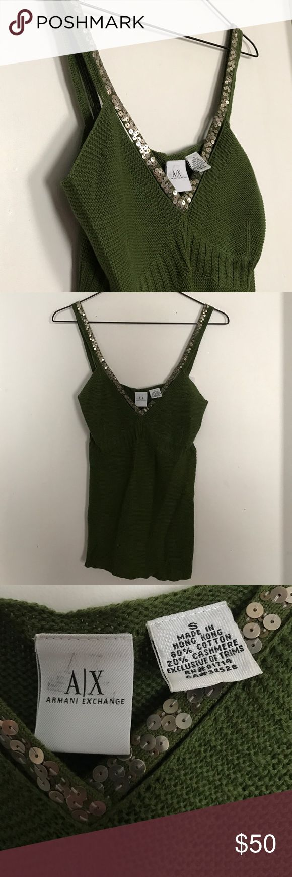 🆕Armani exchange huntergreen sequin cashmere top Gorgeous cashmere and cotton blend tank by Armani exchange. Super soft and sexy with jeans and heels for a night out. Color is a Hunter olive green and the sequins are silver A/X Armani Exchange Tops Tank Tops