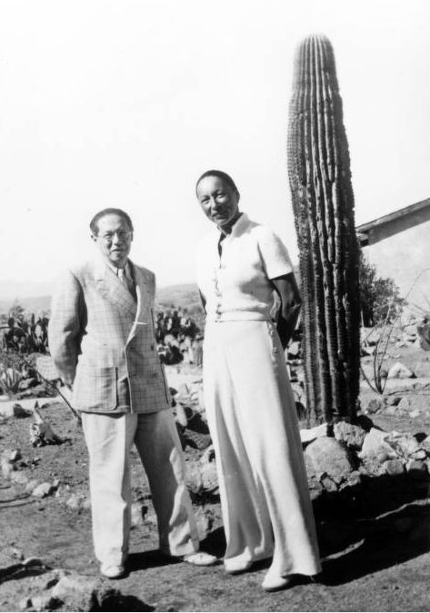 Lion Feuchtwanger Papers, 1884-1958 - Lion Feuchtwanger and wife Marta posing in front of a cactus in Nogales, Mexico (c. 1941).