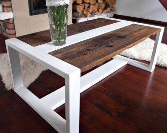 Bois récupéré la main & acier Table basse par DesignInFocus