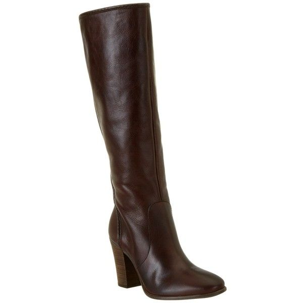 Vince Camuto Vince Camuto Framina Leather Boot | Bluefly.Com ($146) ❤ liked on Polyvore featuring shoes, boots, brown, knee-high boots, brown leather boots, brown knee high boots, vince camuto boots, knee high heel boots and leather knee boots