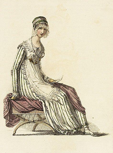 Ackermann's Repository, Half Dress, November 1814.  Green stripes!