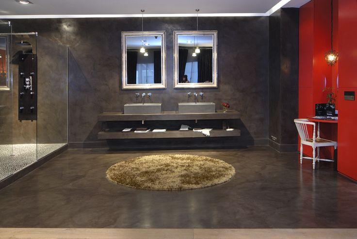 cement bathroom floor & wall