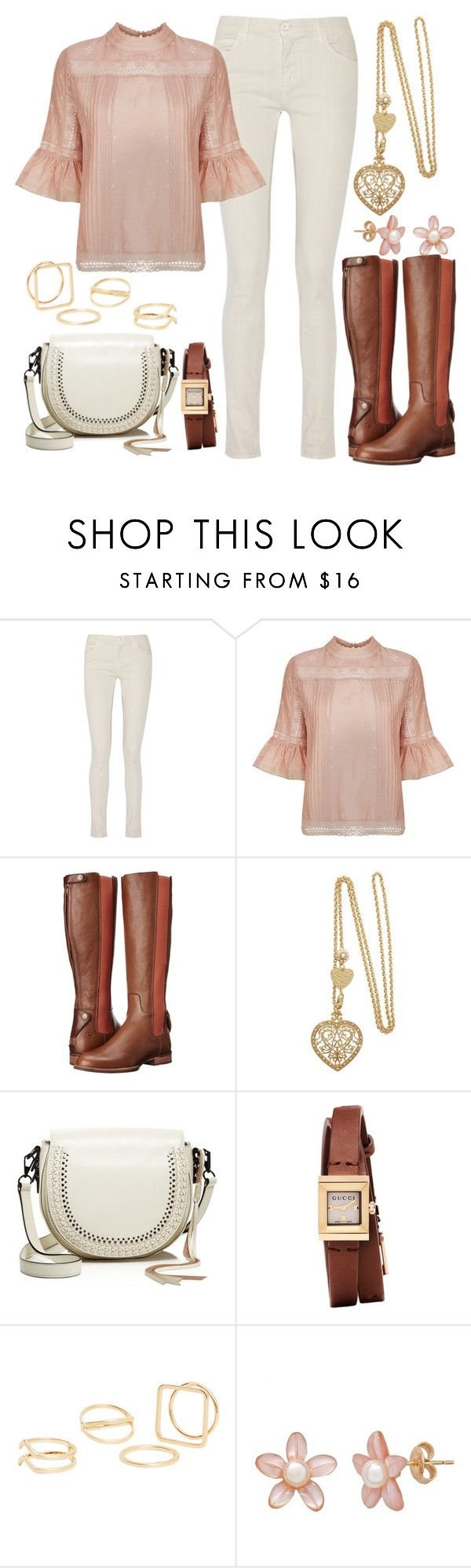 """""""Bell Sleeve Blouse"""" by joslynaurora ❤ liked on Polyvore featuring MM6 Maison Margiela, Ulla Johnson, Ariat, Rebecca Minkoff, Gucci, MANGO, Boots, blouse, goingout and bellsleeve"""