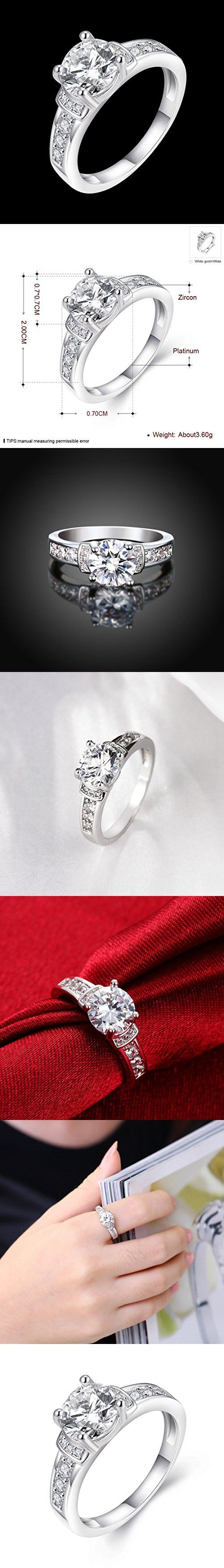 [Eternity Love] Women's Pretty 18K White Gold Plated Princess Cut CZ Crystal Engagement Rings Best Promise Rings for Her Anniversary Arrow Wedding Bands TIVANI Collection Jewelry Rings