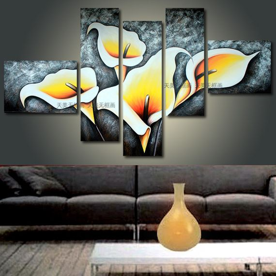 Pintura sin marco EE.UU. murales pintados a mano de pintura al óleo moderna sala de estar dormitorio mural pintura decorativa T5 lucha Calla - visitando el bebé - Compras amor - Taobao
