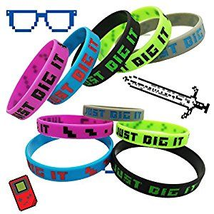 Minecraft Birthday Party Goodie Goody loot bags bracelets  Pixelated Party Miner Silicone Wristband 8-Bit Bracelets 15-Pack