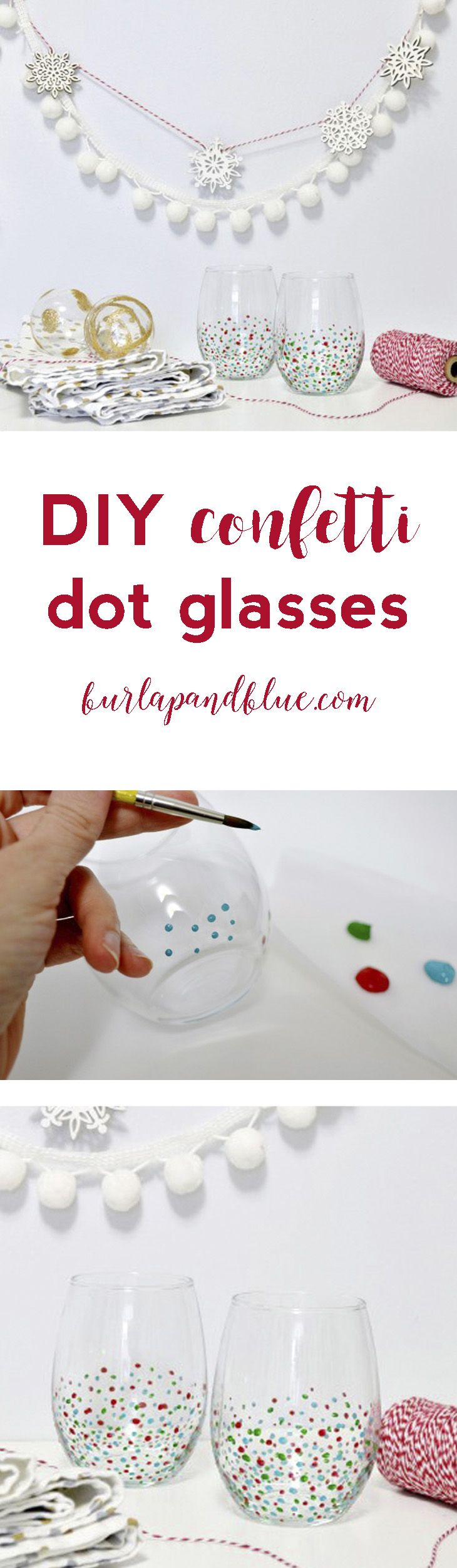 easy diy confetti dot wine glasses! perfect for holiday or wedding gifts.