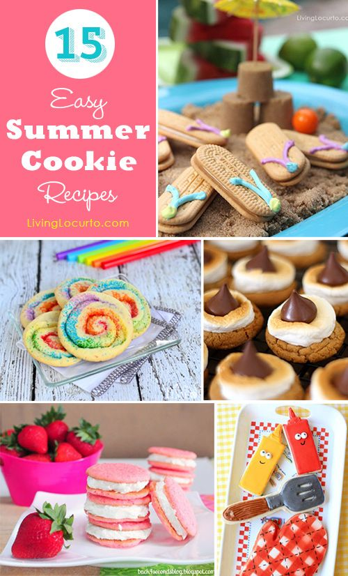 15 Easy Summer Cookie Recipe Ideas. So many cute cookies! LivingLocurto.com