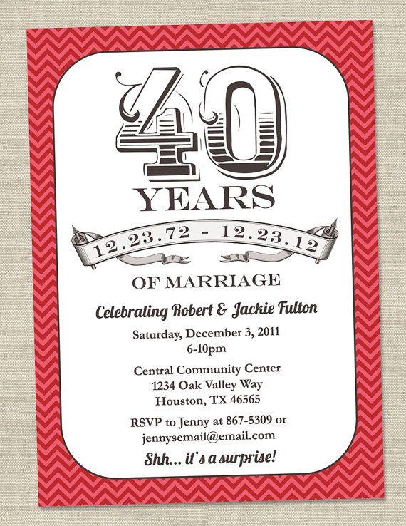 40th Anniversary Invitation -  Ruby Red Vintage Anniversary Party Invite - Fortieth (Printable Digital File)