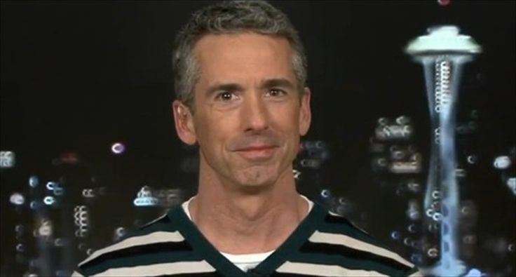 Columnist Dan Savage is interviewed by 'All In' host Chris Hayes on April 21, 2015. [MSNBC]