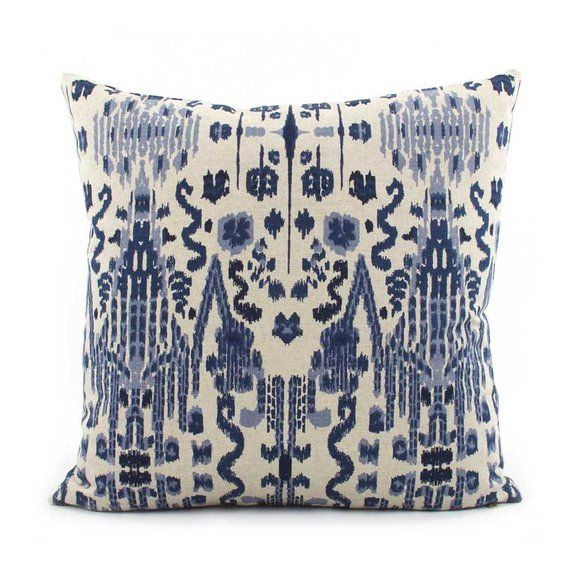 Indigo Blue Ikat Pillow Cover Choose Your Size Euro Square Or