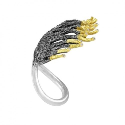 """""""Orpheus and Eurydice"""" Ring: silver, gold and diamonds"""