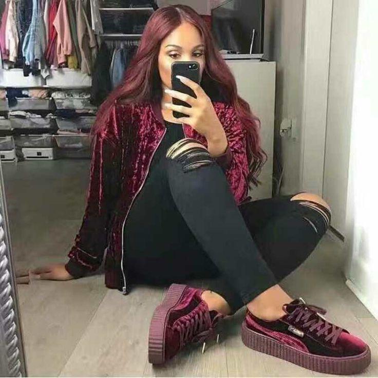 Puma By Rihanna Suede Creepers Wine