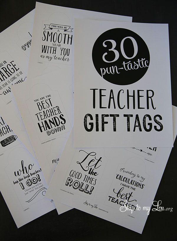 Back to school printable teacher gift tags #backtoschool #gift skiptomylou.org