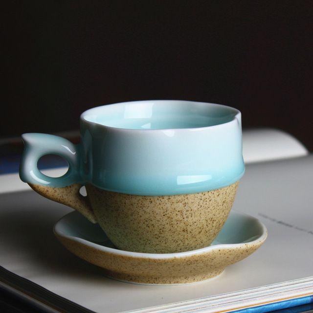 Общество с ограниченной горячий продавать персонализированные керамические чашки Кофе и блюдце белый/Коричневый Кружки