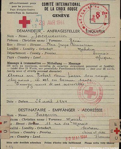 18| Formulaire de courrier de la Croix-Rouge envoyé par des amis à M. Basquin (père), avril 1944. M. Basquin put garder contact avec sa famille à Sevran durant ses mois de détentions successifs en Espagne. Pour cela, il devait passer par des intermédiaires : prêtre de la prison à Figueras, Croix-Rouge à Miranda. Dans ses courriers, il mit au point un système de codage pour faire passer des messages à ses parents.