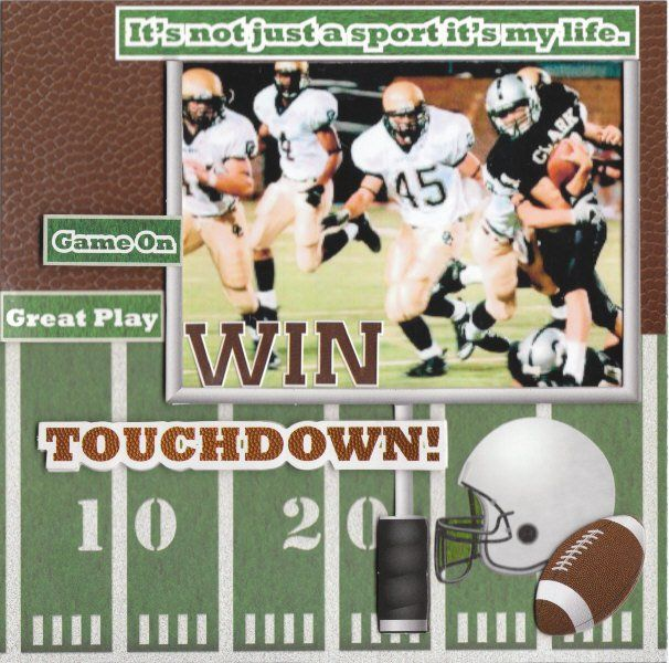 """touchdown""scrapbook page - - papers and embellies by reminisce.... tami sanders,sports page,sports scrapbook layout,football layout,football scrapbook"