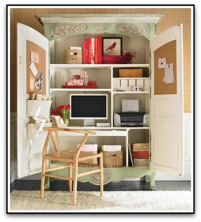 love the armoire desk idea where you can just close it up at the end of the day