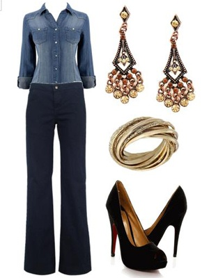 Crisp All Denim Outfit- how to wear denim on denim- mix different weight fabrics  different shades