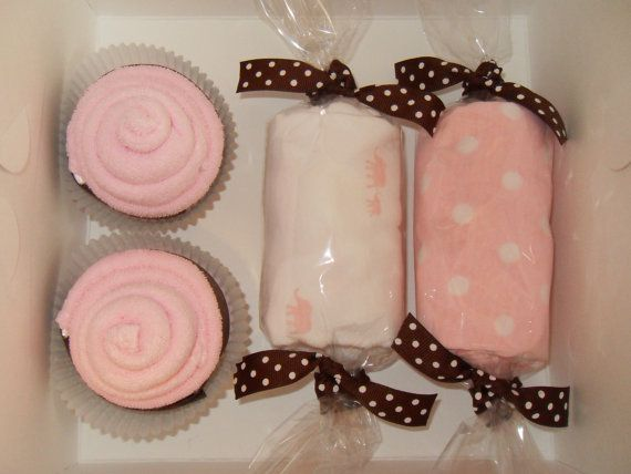 Cute Baby gift idea!  Washcloth cupcakes and onesies gift box!